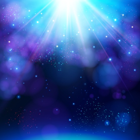 Sparkling blue festive star burst background with a dynamic bright white explosion of rays of light over a twinkling bokeh with copyspace for your greeting or text, vector illustration