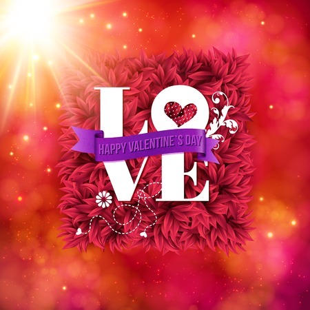 sentimental: Sentimental Love - Happy Valentines Day card with white text over a bed of red flower petals with a central banner and textured red border with sunburst, vector illustration