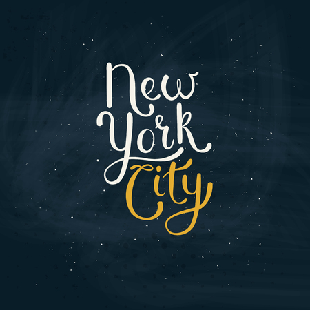 speckle: Simple Text Design for New York City Concept on Green Board with Small White Dots. Illustration