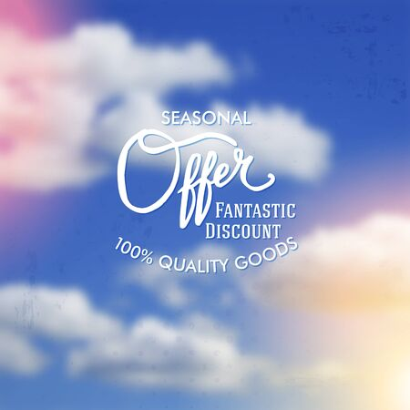 breezy: Seasonal Sale discount Offer promotional poster design with white text over a colorful sunset blue cloudy sky in square format, vector illustration