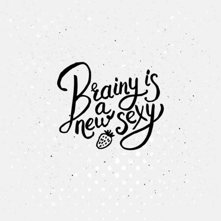 brainy: Simple Black and White Texts for Brainy is a New Sexy Concept on Off White Background with Small Black Dots. Illustration