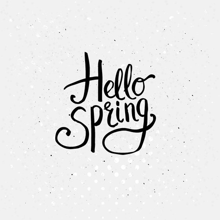 Simple Black Texts for Hello Spring Concept Graphic Design on Dotted Off White Background.