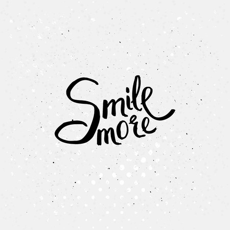 contentment: Simple Black Texts for Smile More Concept on Off White Background with Small Black Dots.