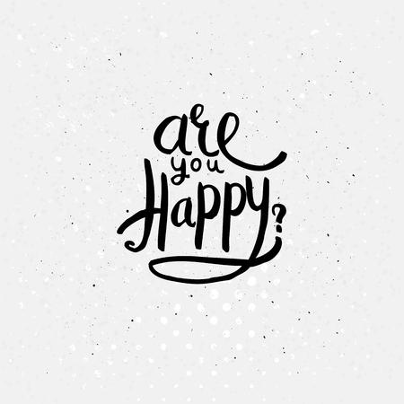 interrogative: Dise�o simple Negro Texto para Are You Happy Concept en Off fondo blanco con puntos.