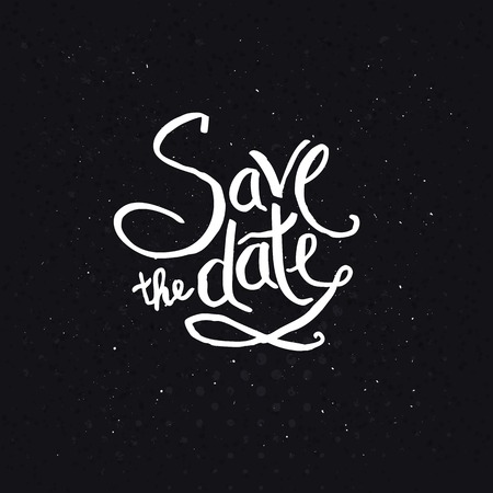 emphasizing: Simple White Text Design for Save the Date Concept on Abstract Black Background, Emphasizing Small White Dots.