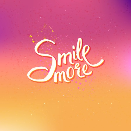 lighthearted: Glowing Text Design for Smile More Concept on Abstract Colored Background.