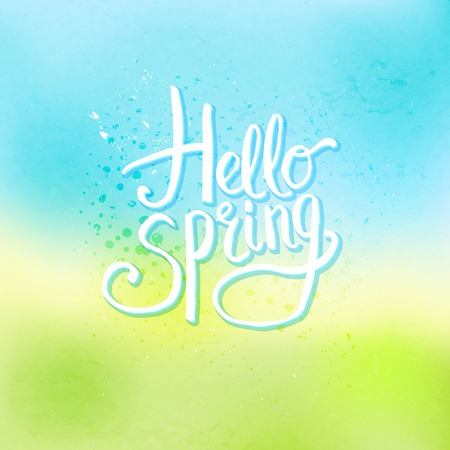 Simple Wit Text Ontwerp voor Hello Spring Concept op abstracte hemel blauw en geel Groene Achtergrond Stock Illustratie