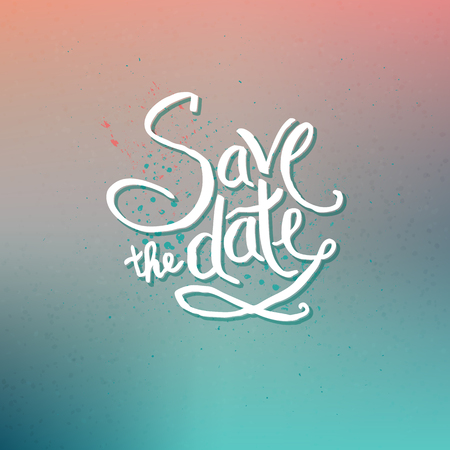 special occasion: Simple Text Design for Save the Date Concept on Abstract Colored Background with Dots.