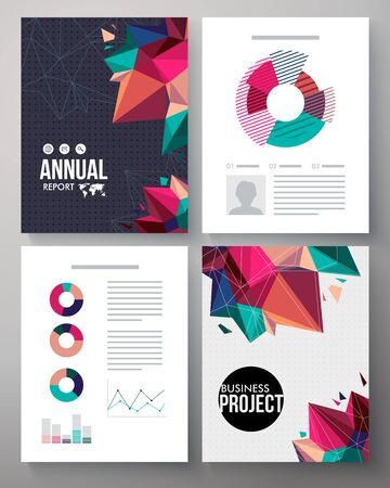 analytical: Brochure vector template design for an annual business project with editable text, analytical graphs and charts and a dynamic cover design of multicolored crystals or points for a stylish presentation Illustration