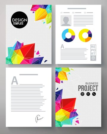 analytical: Colorful geometric vector template in the vivid colors of the rainbow for a company project with crystals or points and editable copyspace for text and circular analytical graphs Illustration
