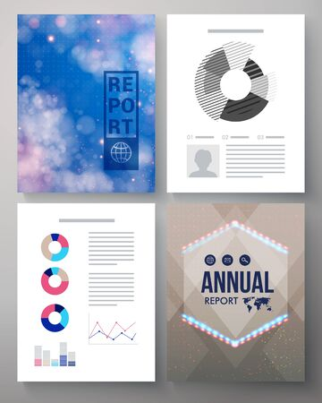 weather report: Corporate Annual report vector template of four pages with twinkling stars in a blue sky, a hexagonal emblem or logo, editable copyspace for text and various analytical graphs Illustration