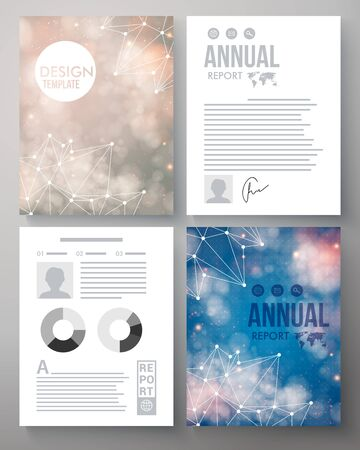 Company report vector template illustrated with the heavens and constellations in sunshine and moonlight with editable text, bar graphs and circular graphs for an analytical presentation