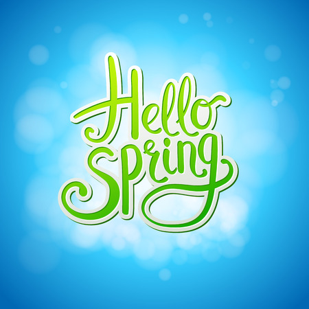Happy sparkling Hello Spring card design with flowing green and white script over a textured graduated blue background in square format, vector illustration