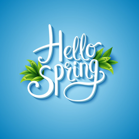 Fresh blue Hello Spring background with flowing white text and green leaves over a glowing graduated blue square background , vector illustration