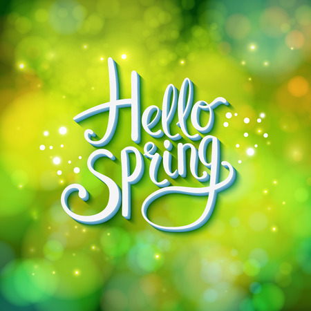 rejuvenation: Hello Spring sparkling green card design with a textured abstract background and flowing text in square format, vector illustration