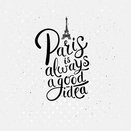 off white: Simple Graphic Design for Paris is Always a Good Idea Concept with Eiffel Tower on Dotted Off White Background.