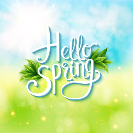spring: Welcoming the springtime - Hello Spring - with an abstract textured background of a sunny green spring meadow with flowing white text and green leaves, vector illustration