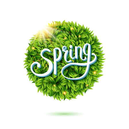 Warm fresh Spring card design with a circular frame of fresh green leaves under a glowing sunburst over flowing white text for eco and bio or environmental concepts, vector illustration