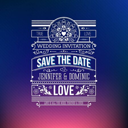 names: Save the date wedding invitation vector design with decorative text over a graduated pink to blue background with floral ornaments and flourishes and an emphasis on love Illustration