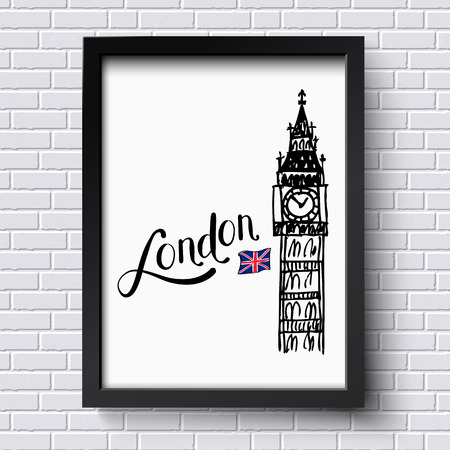 big ben tower: London and Big Ben clock tower with the Union jack vector illustration in a simple black frame hanging on a textured face brick wall, with copyspace