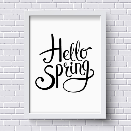 brick texture: Hello Spring greeting card design with simple stylish flowing decorative text on a white framed certificate hanging on a textured brick wall, vector illustration
