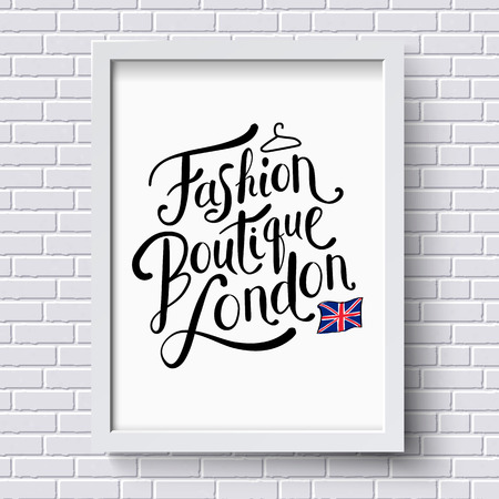 boutique: Fashion Boutique , London publicity or advertising poster designed as a hanging framed certificate on a white brick wall in square format with the patriotic Union Jack, vector illustration