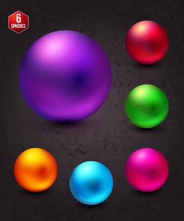 emphasizing: Six Attractive Shiny Colorful Spheres on Abstract Gray Background, Emphasizing the Sphere in Violet