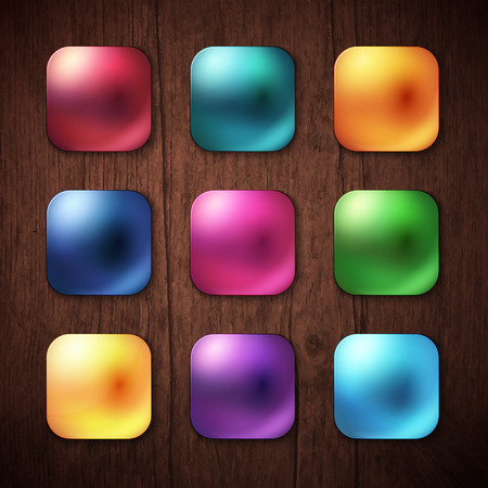 chamfered: Attractive Nine Shiny Colorful Square Buttons on Brown Wooden Background