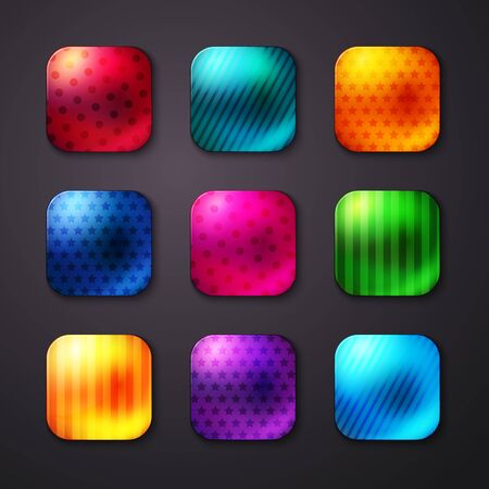 shiny buttons: Assorted Shiny Colored Square Buttons with Seamless Stars and Lines Pattern Designs on Gray Background.