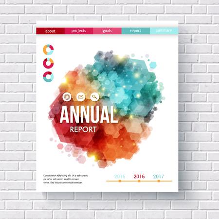 摘要: 摘要設計上的年度報告矢量設計模板與多彩的六邊形重疊,餅圖和日線掛在海報形式在白色磚牆 向量圖像