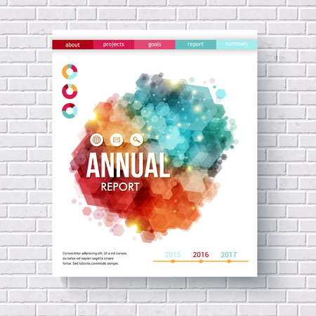 summary: Abstract design on an annual report vector design template with colorful overlapping hexagons, pie charts and date line hanging in poster format on a white brick wall Illustration
