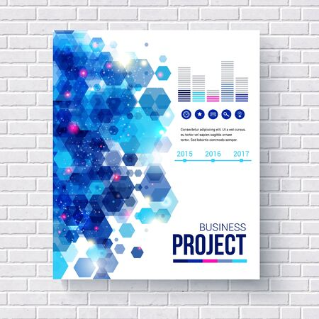 brick: Blue vector design Business Report with analytical charts and editable text space decorated with an abstract hexagonal pattern hanging on a white brick wall