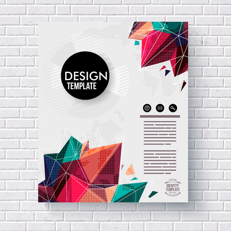 mining: Stylish design template with colorful crystals or geometric points suitable for mining or gemstone concepts with editable text hanging on a white brick wall, vector illustration
