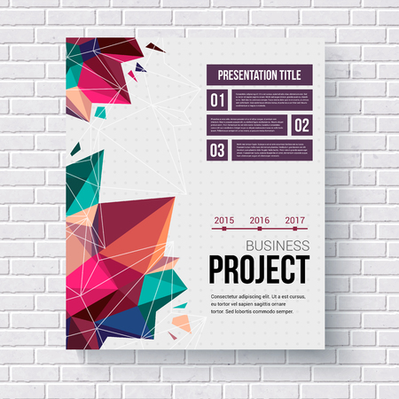 title page: Presentation brochure template title page with a stylish geometric pattern of triangular points, a date line and editable text space, vector illustration