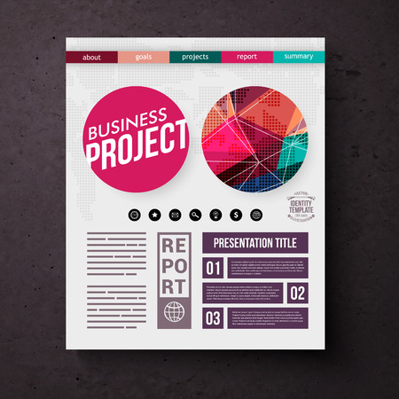 title page: Business Project title page vector template with colorful geometric round motifs, editable text and tabs over a square black background Illustration