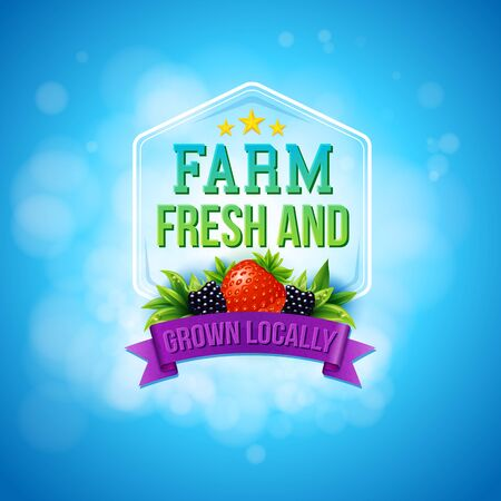Colorful poster design advertising Farm Fresh Locally Grown produce and agricultural crops decorated with a frame, banner, berries and text on a blue background with sparkling bokeh