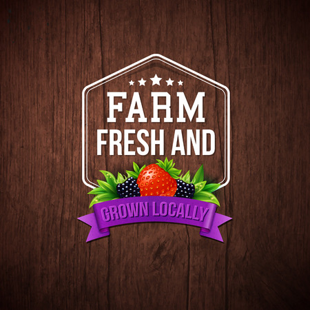 strawberry: Farm Fresh and Grown Locally vector illustration on a rustic wood background with a hexagonal frame and banner decorated with a strawberry and blackberry
