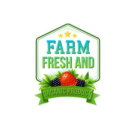 blackberries: Farm Fresh and Organic Product vector emblem or label for farm fresh fruit depicted by a strawberry and blackberries over a green banner and hexagonal frame, design element on white