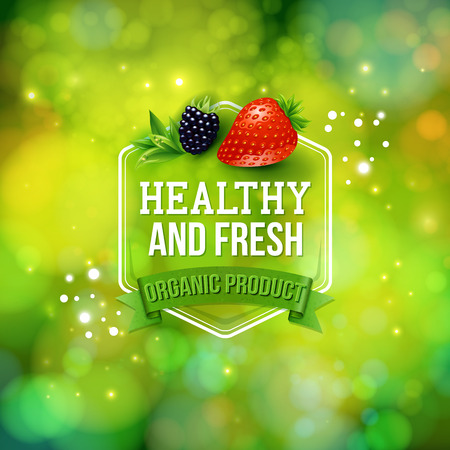 bio food: Healthy Fresh Organic Product advertising poster with text in a hexagonal frame over a banner on a sparkling green bokeh in green format with fresh berries