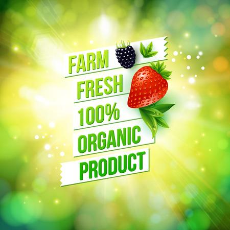 Gegarandeerd 100 procent Farm Fresh biologisch product poster of kaart ontwerp over een wazig groene zomer achtergrond met zon barsten versierd met een rijpe aardbeien en bramen, vector illustratie Stock Illustratie