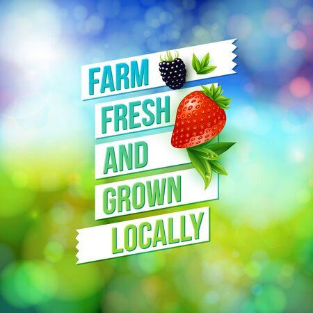 Farm Fresh en gegroeid Lokaal vector reclameposter ontwerp voor een boerenmarkt beeltenis van verse boerderij fruit over een wazig kleurrijke abstracte achtergrond met de zomer bokeh