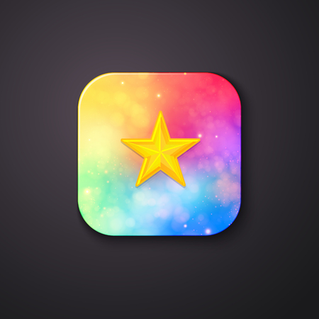 finest: Artistic One Square Buttons with Abstract Light Colors and a Yellow Star at the Middle on a Gray Background.