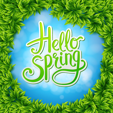 the fresh: Welcoming Springtime Concept - Artistic Hello Spring Text on Abstract Sky Blue Background Surrounded by Green Fresh Leaves