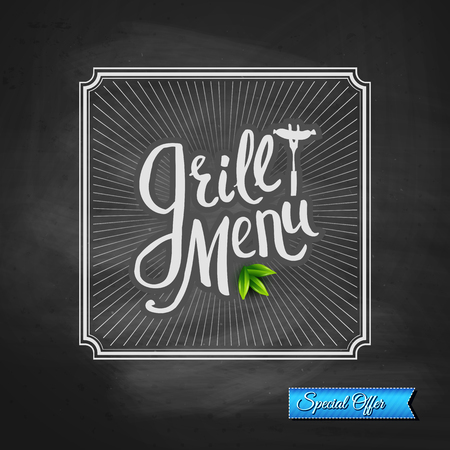 Simple Grill Menu Texts with Green Leaves Inside a Square with Rays on a Black Chalkboard for a Special Offer Poster Concept. Vector