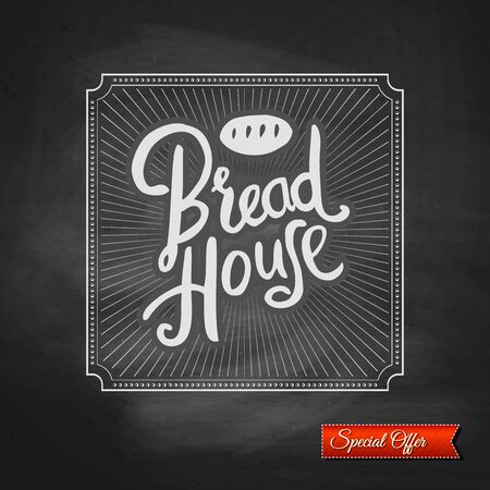 specialty store: Bread House special offer promoting their bakery products and bread with stylish flowing text over radiating rays in a decorative frame with a red banner below