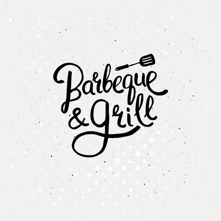 specialities: Simple Black Text Design for Barbecue and Grill Concept with a Small Flat Ladle Above on Abstract White Background with Dots.