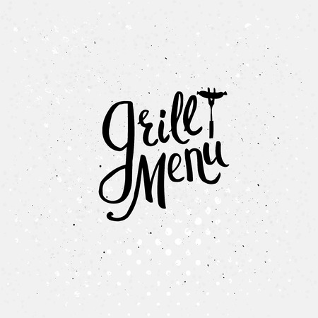 Simple Black Text Design for Grill Menu Concept on an Abstract Dotted White Background. Vector