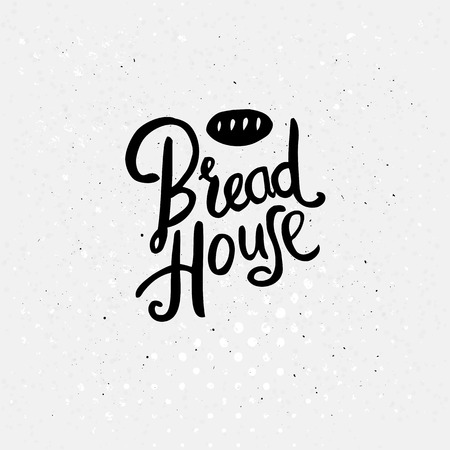 simple store: Simple Black Text Design for Bread House Concept with a Small Bread Drawing Above on an Abstract Dotted White Background.