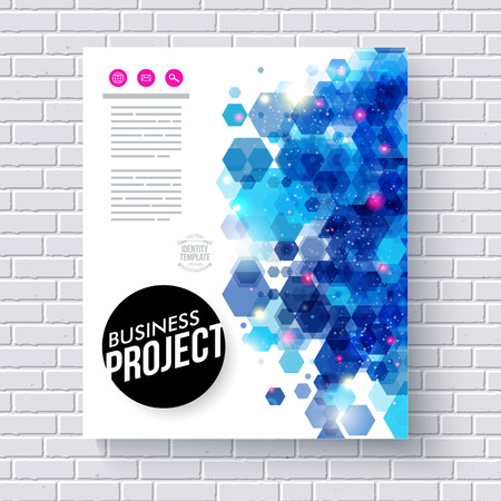 publicity: Elegant Business Web Template with Abstract Blue Hexagon Graphic Designs on a White Brick Wall Background.