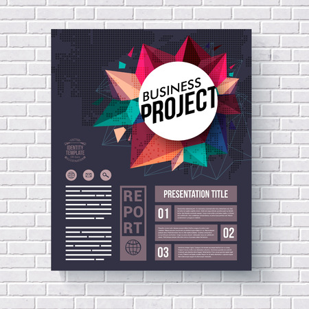 publicity: Business Identity Web Template with Creative Graphic Designs on a White Brick Wall Background Illustration